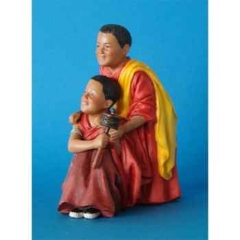 Figurine tibet cimba+zonpa boys prayer wheel - tib003