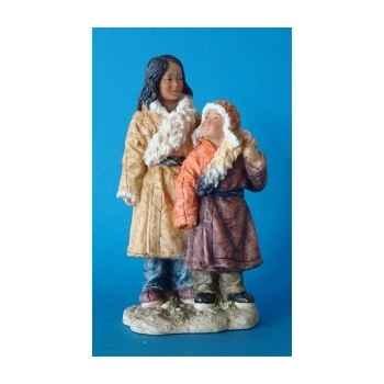 Figurine tibet ceba+dawa sister young broth - tib004
