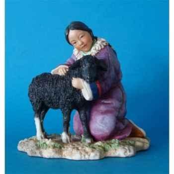 Figurine tibet de chen girl w lamb col - tib005
