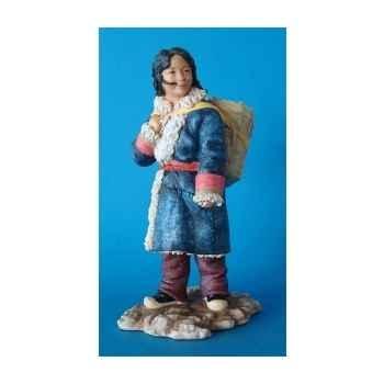 Figurine tibet anil girl w basket col - tib006