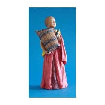 Figurine tibet temba boy w wooden tub col - tib008