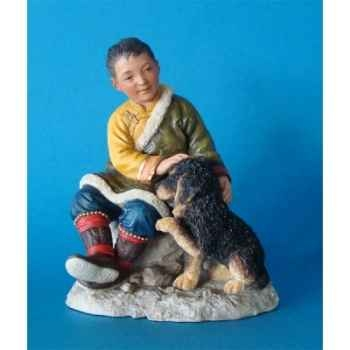 Figurine tibet jampo boy w dog colour  - tib009