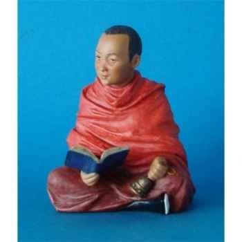 Figurine tibet kunchen lama reading colour  - tib010