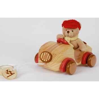 Petit ours et sa jolie voiture en bois -1405