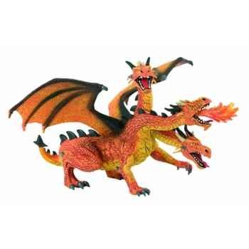 Figurine bullyland dragon rouge à trois têtes -b75548