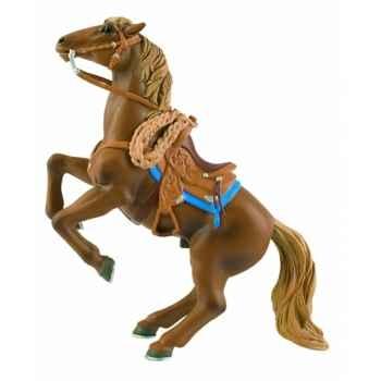 Figurine bullyland cheval de cowboy se cabrant -b80674