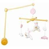 mobile musicabois lapin bonbon rose doudou et compagnie dc2097