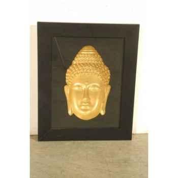 Art asiatique frame w/buddha head pagoda -pm2719rp