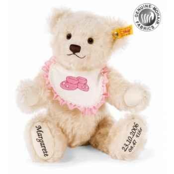 Peluche steiff ours teddy nouveau-né, blanc -001949