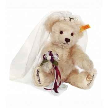 Peluche steiff ours teddy mariée, blanc -001963