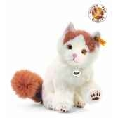 peluche steiff chat turc de van niki blanc brun rouge 099465