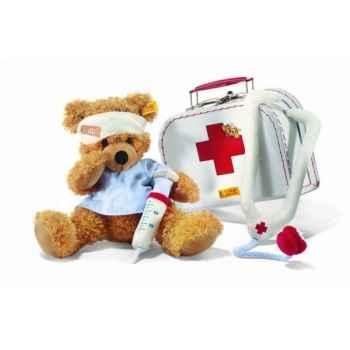 Peluche steiff ours teddy docteur fynn dans sa valise, rouge brun -111808