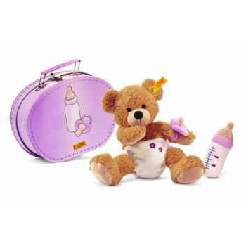 Peluche steiff ours teddy bébé fynn dans sa valise, beige -111846