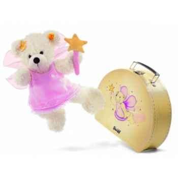 Peluche steiff ours teddy fée des étoiles lotte dans sa valise, blanc -111938