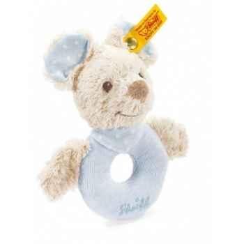 Peluche steiff souris sniffy anneau de préhension avec hochet, bleue -237669