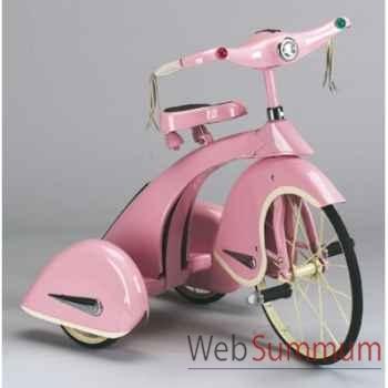 Vélo trike rétro en métal à pédales rose princesse sky AF-012