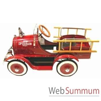 Camion pompier à pédales deluxe rouge G-020