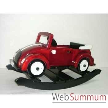 Voiture cabriolet à bascule en bois rouge Z084
