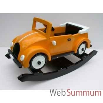 Voiture cabriolet à bascule en bois jaune Z085