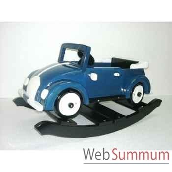 Voiture cabriolet à bascule en bois bleue Z086