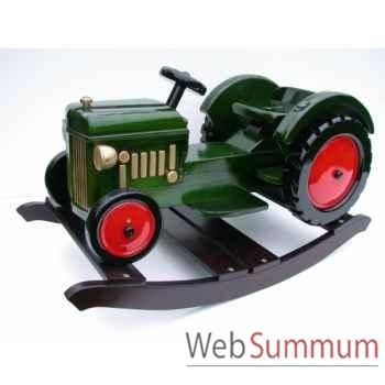 Tracteur à bascule en bois vert Z088