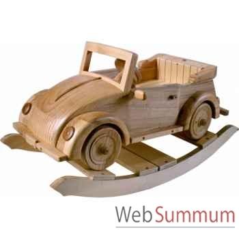 Voiture cabriolet à bascule en bois naturel Z106