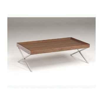 Table basse rectangulaire plateau en mdf plaqué noyer - pied inox en x X150WN