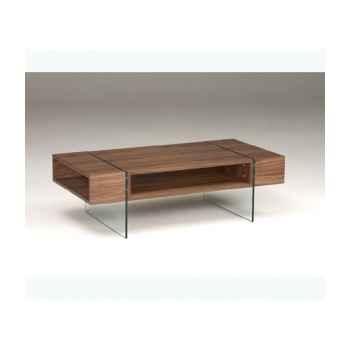 Table basse rectangulaire caisson en mdf plaqué noyer - pied verre trempé LUX165WN