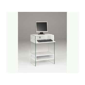 Petit meuble informatique en mdf 60x40 ht 86cm avec niche, caisson et tablette - blanc laqué LUX480LB