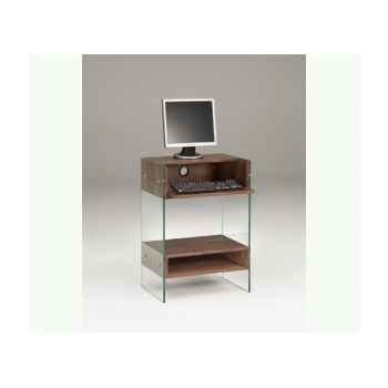 Petit meuble informatique en mdf 60x40 ht 86cm avec niche, caisson et tablette - noyer LUX480WN