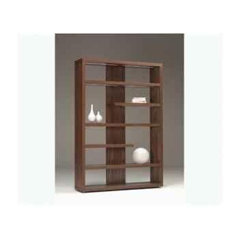Bibliothèque 150x37 ht 216cm en mdf plaqué noyer - cinq étagères éclairage leds avec télécommande BALI245WN