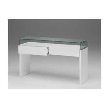 Les independants - console composée d\'un bloc en mdf laqué blanc polyuréthane, 2 tiroirs, pont en verre bombé ép.12mm ULYS352