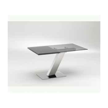 Les independants - table repas avec allonge, plateau verre ép.10mm et pied inox TRSEVEN