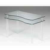 les invisibles bureau pieds pmma 118x60 ht755cm plateau decoupe verre trempe mt25