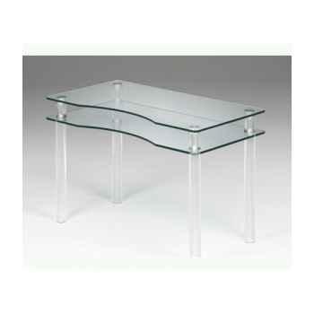 Les invisibles - bureau pieds pmma 118x60 ht75.5cm - plateau découpé verre trempé MT25