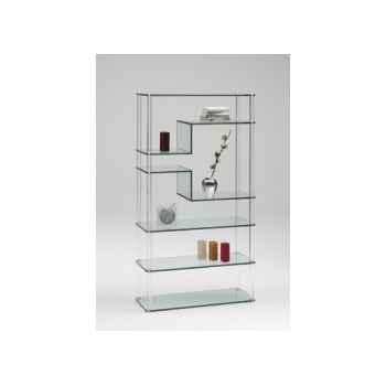 Les rondins - bibliothèque 99x37 ht 186cm rondins en pmma et tablettes en verre collé MR7