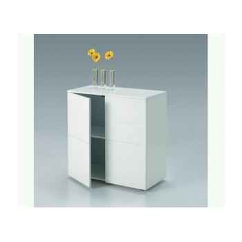 Les indépendants - petit meuble 2 portes en mdf laqué blanc BOX800B