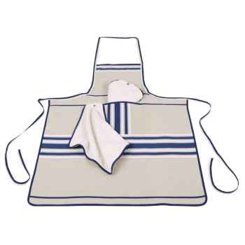 Tablier chef nouveau tissus Artiga toile bleu/blanc Corda Metis