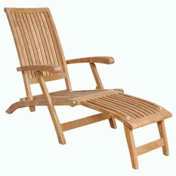 Chaise longue honfleur en teck naturel 60-051