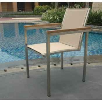 Chaise thales textilène taupe en textilène 65-2023