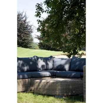 Salon modulo coussin gris en résine tressée ronde gris 64-884
