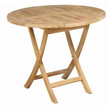 Table waldrof pliante ronde 90 en teck naturel 60-039