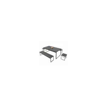 Table thales teck peint noir 200cm en teck 65-2040