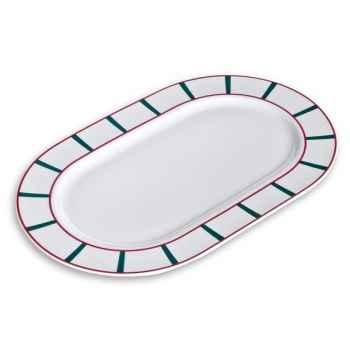 Evrard plat ovale 36 cm  vert et rouge - porcelaine basque  976048