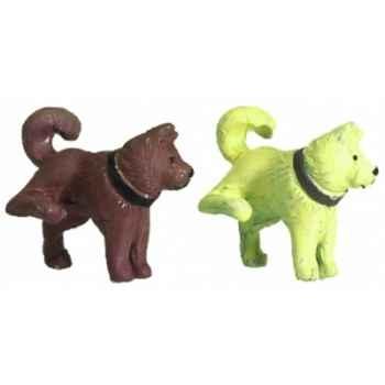 2 chiens couleur beige et marron Norev AN3100