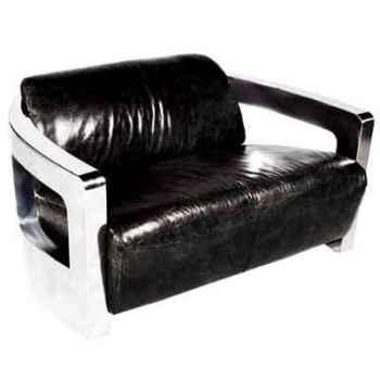 Canapé mars en cuir couleur noir avec finition en acier brillant, deux places h 720 x 1250 x 840 Arteinmotion DIV-MAR0008