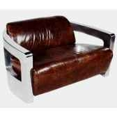 canape mars en cuir couleur cigare avec finition en acier brillant deux places h 720 x 1250 x 840 arteinmotion div mar0028