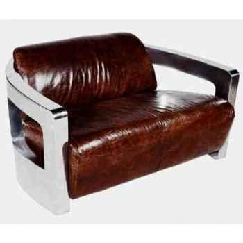 Canapé mars en cuir couleur cigare avec finition en acier brillant deux places h 720 x 1250 x 840 Arteinmotion DIV-MAR0028
