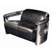 canape mars en cuir couleur cafe avec finition en acier brillant deux places h 720 x 1250 x 840 arteinmotion div mar0020