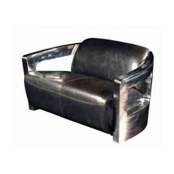 Canapé mars en cuir couleur café avec finition en acier brillant deux places h 720 x 1250 x 840 Arteinmotion DIV-MAR0020